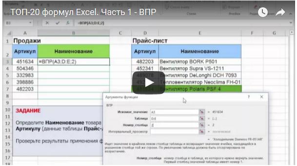 ТОП 20 формул Excel